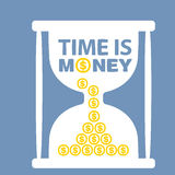 Illustration with hourglass time is money Stock Images