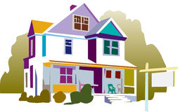 Illustration of house. A colorful abstract illustration of a single family house on a white background