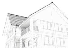 Illustration of a house. Black line drawing Royalty Free Stock Photo