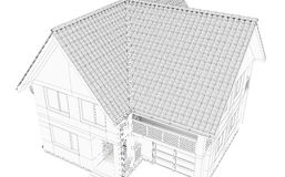 Illustration of a house. Black line drawing Stock Images