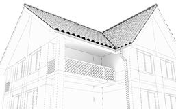 Illustration of a house. Black line drawing Royalty Free Stock Photography