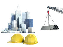 Illustration with house building and cranes Royalty Free Stock Photo
