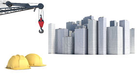 Illustration with house building and cranes Royalty Free Stock Images