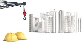 Illustration with house building and cranes Stock Photo