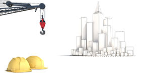 Illustration with house building and cranes Stock Images