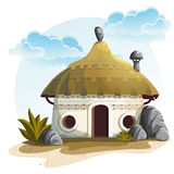 Illustration House with cactus and rocks under cloudy sky Royalty Free Stock Images