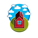 Illustration of house on cloudy background, beautiful fairy vect Royalty Free Stock Photography