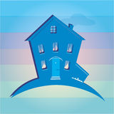 Illustration of house on colour background. Can be Stock Photos