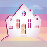 Illustration of house on colour background. Can be used as icon home Stock Images