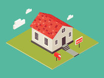 Illustration of house in 3d isometric style. Private house real estate icon for sale. American small cottage. Royalty Free Stock Image