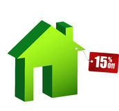 Illustration of house with discount tag Stock Photo