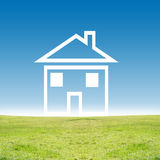 House in countryside. Illustration of house on green countryside field with blue sky background Stock Image