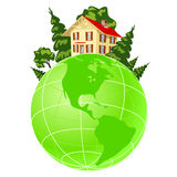 Illustration of house on green earth Royalty Free Stock Photos