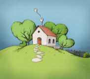 Illustration of a house on a hill. Illustration of a little house on a hill with some heart-shaped trees Royalty Free Stock Images