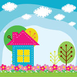 Illustration of a house in the nature Stock Photography
