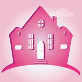 Illustration of house on pink background. Can be used as icon home Royalty Free Stock Images