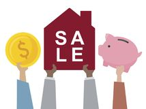 Illustration of a house for sale vector illustration