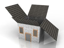 Illustration of a house shaped box Stock Image