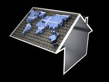 Illustration of a house symbol with solar Stock Photos