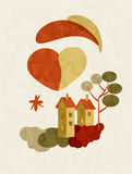 Illustration of house on Valentines Day Royalty Free Stock Photo