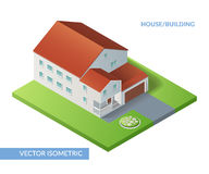 Illustration with house and yard with flowerbed. House and building. Vector isometric flat illustration with house and yard with flowerbed. Eps 10 royalty free illustration