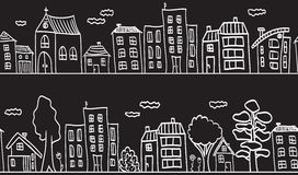 Illustration of houses and buildings - seamless Stock Photo