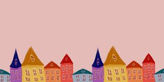 Illustration with houses royalty free illustration