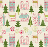 Illustration of houses, trees, snowflakes Royalty Free Stock Image