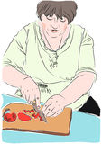 Illustration of housewife prepares lunch Stock Photos