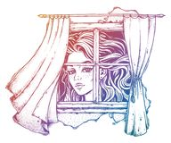 Illustration of huge Alice, curtains on a wind sketch. Vintage line art of beautiful Alice growing huge tall looking at the window with curtains blown by the Stock Photos