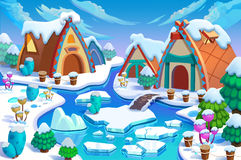 Illustration: The Human Being's Cottages in the Snow Land in the Great Ice Age! Cabin, Fence, Plant, Ice River. Royalty Free Stock Image