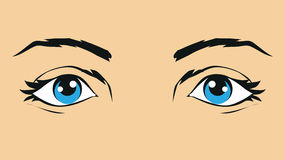 Illustration of human eyes. Pop art retro comics style Stock Image