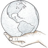 Hand holding the world Stock Photos