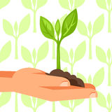 Illustration of human hand holding green small plant Stock Photo