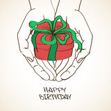 Illustration with human hands holding a gift Stock Photos
