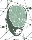 Illustration of a human head with brain. Abstract illustration of a human head with brain. Up view face silhouette. Medical theme creative concept. Connected Stock Image