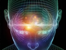 Mind Energy. Illustration of human head and energy waves on the subject of powers of the mind Stock Image