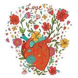 Illustration of human heart with beautiful flowers Stock Images
