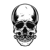 Illustration of the human skull with mustaches isolated on white background. Vector illustration Stock Photo