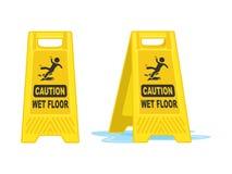 Illustration humide de vecteur de panneau de signe de plancher de précaution illustration libre de droits