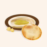 Illustration of hummus with pita . Stock Photos