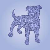 illustration Hund med blommor på en blå bakgrund Royaltyfri Bild