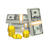Hundred-dollar bills and coins Stock Photos