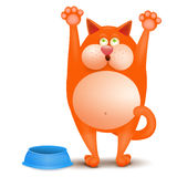 Illustration of a hungry ginger cat asking for meal Royalty Free Stock Photos
