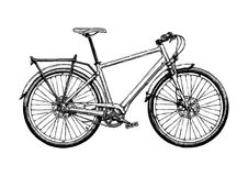 Illustration of hybrid bicycle. Vector hand drawn illustration of hybrid bicycle in ink hand drawn style. Hard tail stock illustration
