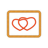 Illustration of I hearts inside rope Royalty Free Stock Images