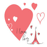 Illustration I love Paris Stock Images