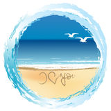 Illustration with I love you drawn on the beach stock illustration
