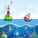 Illustration i tecknad filmstil av ett skepp på havet och den roliga fisken Arkivbild