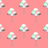 Illustration Ice Cream in cups. Seamless texture on pink background Royalty Free Stock Photo
